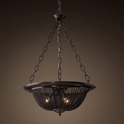 French iron Chain  Chandelier Light Fixture  Vintage Hanging Suspension  Lamp  Art Pendant Light