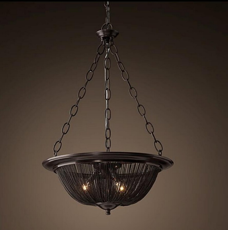 french iron chain chandelier light fixture vintage hanging