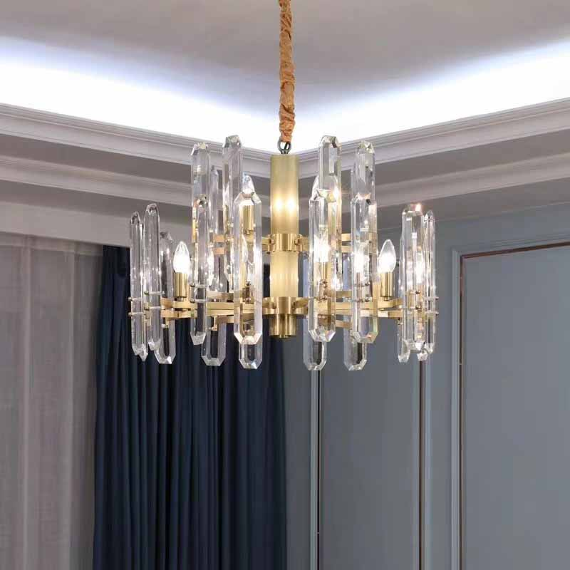 Long shape crystal match with iron art pendant light rural living room pendant lamp  high-end lighting