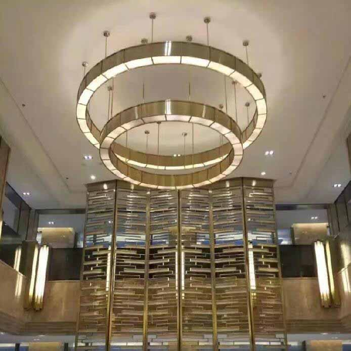 Gold metal rings chandelier light hotel dining room iron craft creative design